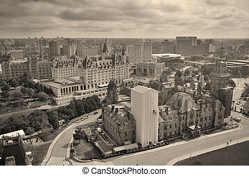 Ottawa city skyline view with historical buildings in black and white