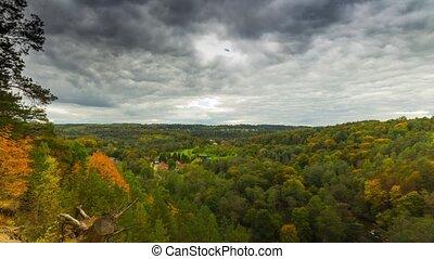 autumn landscape, time-lapse, pan