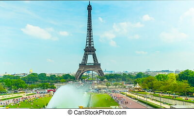 The Eiffel Tower in Paris, time-lap