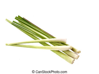 Lemongrass on white background - Lemongrass isolated on...