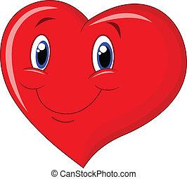 Coração, caricatura, vermelho