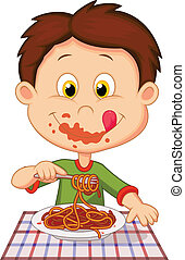 Cartoon boy eating spaghetti - Vector illustration of...