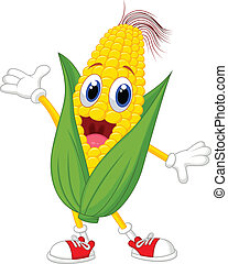 Cute corn cartoon character - Vector illustration of Cute...
