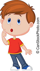 Cute boy cartoon thinking - Vector illustration of Cute boy...