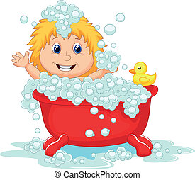 Girl cartoon bathing in the red bat - Vector illustration of...