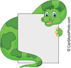 Cute dinosaur cartoon holding blank - Vector illustration of...