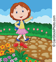 School girl cartoon waving - Vector illustration of School...