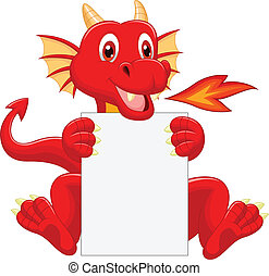 Cute dragon cartoon holding blank s - Vector illustration of...