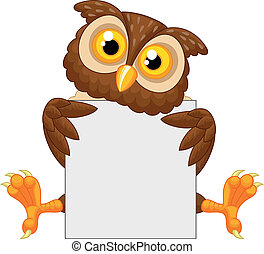 Cute owl cartoon holding blank sign - Vector illustration of...