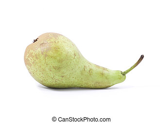 Blemished Pear - Single blemished pear isolated on a white...