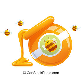 Cartoon natural orange honey in jar dropping and bees -...