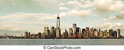 New York City - Downtown Manhattan skyline in old yellow...