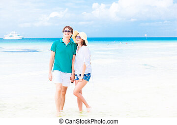 romantic lovers vacation on a tropical beach.