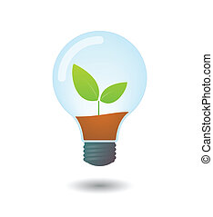 Lightbulb with a plant