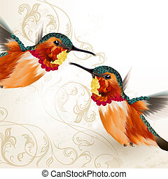 Beautiful vector humming birds with ornament - Vector...