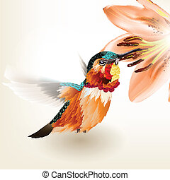 Beautiful vector realistic humming - Vector illustration...