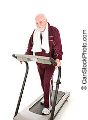 Difficulty Getting in Shape - Tired senior man forcing...