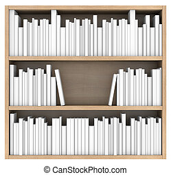 Bookshelf. 3d render isolated on white background
