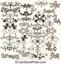 Calligraphic set of vintage vector - Vector set of...