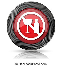No alcohol icon - Shiny glossy icon with white design on red...
