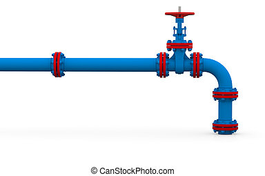 Blue pipe and valve Isolated render on a white background