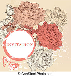 Elegant vector invitation background in vintage style -...