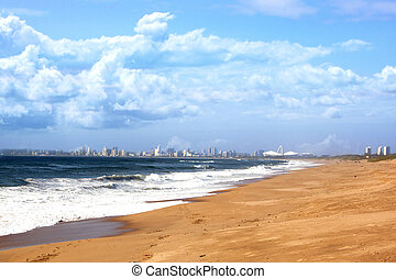 View of Durban City Skyline and Beach Foreground