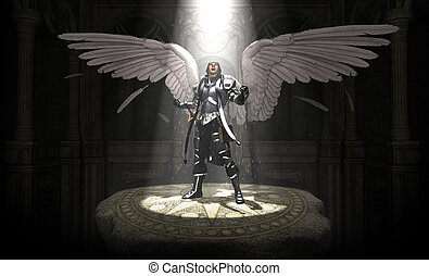 Angel - 3d render of angel warrior
