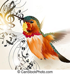 Music vector background with humming bird and notes - Vector...