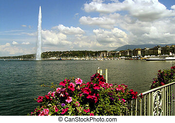 Geneva Water Jet - Water Jet on the lake Geneva with pink...