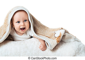 Little baby is laughing under the carpet - Little baby is...
