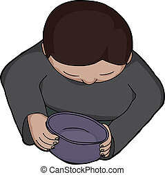 Person Holding Empty Bowl - Top view of person looking into...