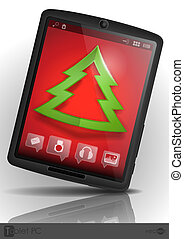 Tablet Pc & Mobile Phone. Christmas And New Year Symbols....