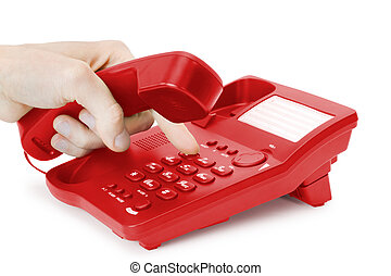 red phone - finger presses the button on phone