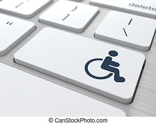 White Keyboard with Disabled Icon Button - Disabled Icon on...