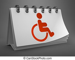 Desktop Calendar with Disabled Icon - Red Disabled Icon on...