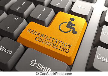 Rehabilitation Counseling for Disabled on Button. -...