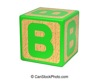 Letter B on Childrens Alphabet Block. - Letter B on Green...