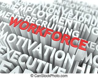 Workforce. Wordcloud Concept. - Workforce - Word in Red...