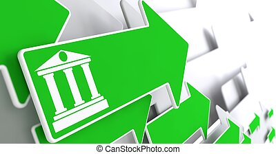 Bank Icon on Green Arrow - Icon of Building with Columns on...