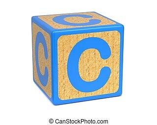 Letter C on Childrens Alphabet Block. - Letter C on Blue...