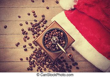 máquina, café, navidad, Plano de fondo
