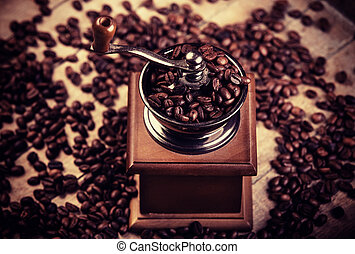 de madera, tabla, café, amoladora, granos