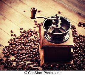 café, amoladora, café, granos, de madera,...