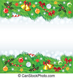 Christmas frame with decorated fir-trees - Colorful...