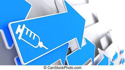 Syringe Icon on Blue Arrow . - Syringe Icon on Blue Arrow on...
