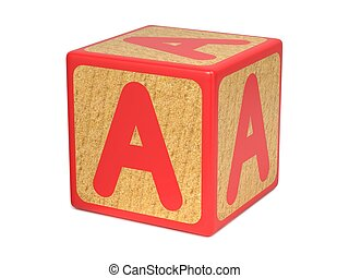 Letter A on Childrens Alphabet Block - Letter A on Red...