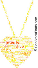Golden Necklace With Gold Heart Pendant Word Cloud Concept...