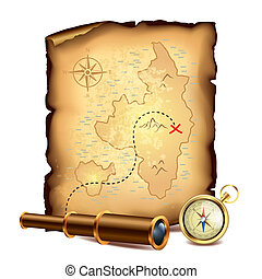 Pirates treasure map with spyglass and compass vector...