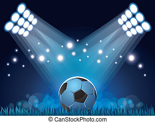 Stadium lights and soccer ball background - Stadium lights...